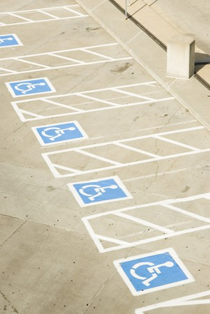 handicap parking spaces in a parking lot