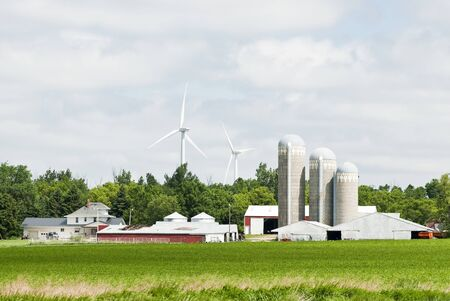 wind turbines located on farmland near Lake Benton Minnesota. Corn field in the foreground.