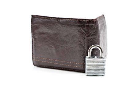 closed lock in front of open wallet isolated on white background photo