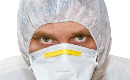 Close up of a scientist in protective gear photo