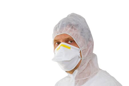 Scientist in protective gear isolated on white photo
