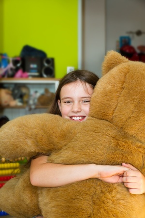 gril: Little gril with teddy bear
