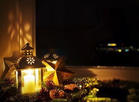 Christmas decoration on a window sill Stok Fotoğraf