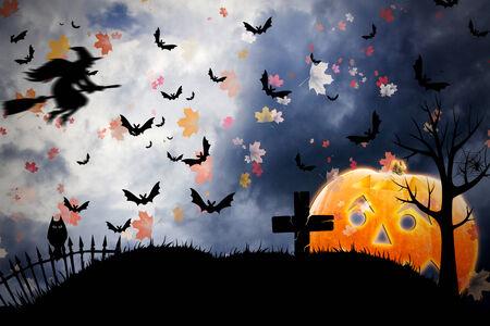 Halloween background with pumpkin photo