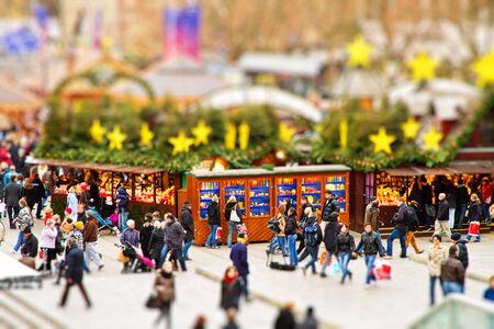 Christmas market in Stuttgart, Germany - tilt schift effect Stok Fotoğraf