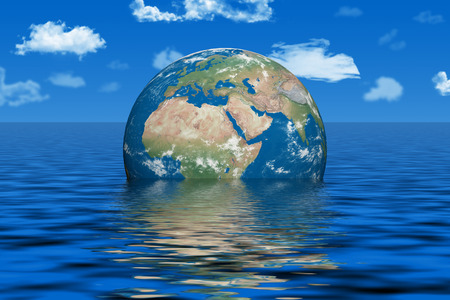 life change: Earth under water Stock Photo