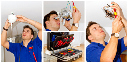 Electrician on work