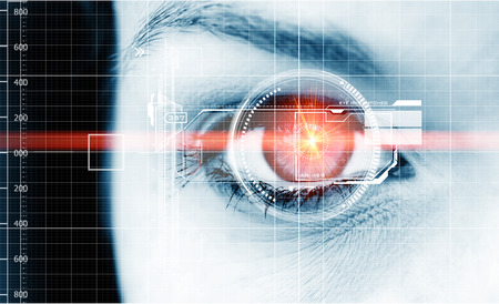futuristic eye: Digital eyes with laser ray