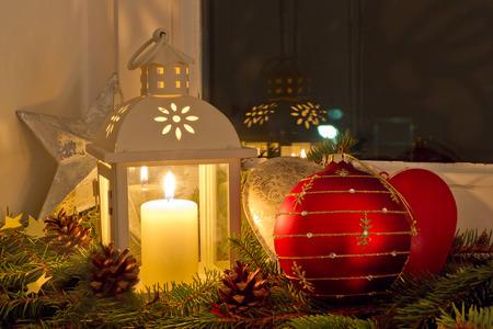 Christmas decoration on a window sill photo