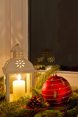 Christmas decoration on a window sill photo