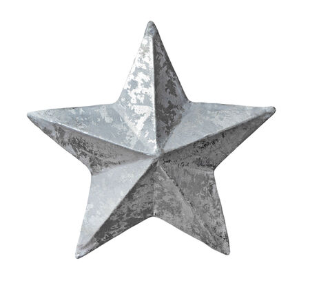 silver star: Silver christmas star isolated on white