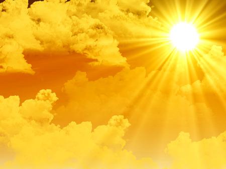 Bright sun in the clouds