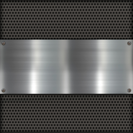 dark fiber: Shiny metal texture with metal plate background