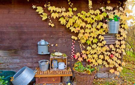 Decoración del otoño en un jardín Foto de archivo - 33415133