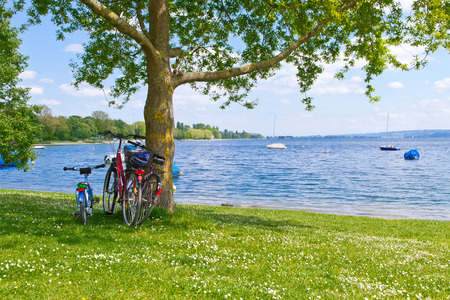 Little break during bike ride with family, lake Bodensee, Germany