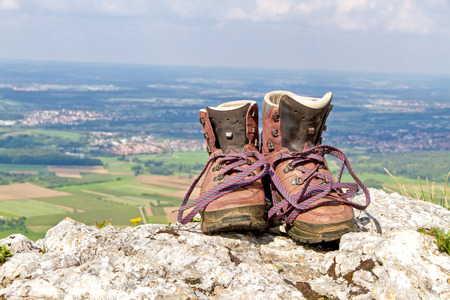 Hiking boots on the mountains Stok Fotoğraf