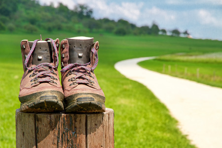 Hiking boots on a wood