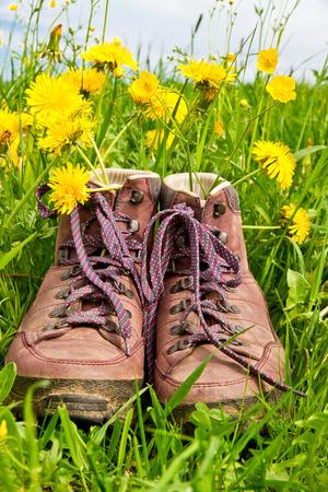 Walking boots on a flower field