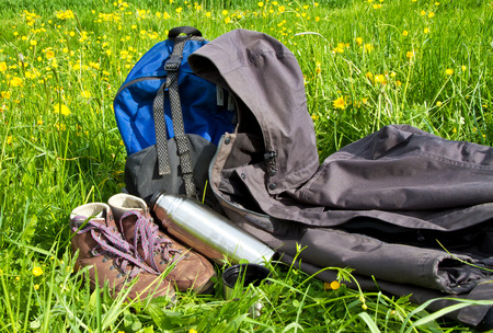 anorak: Walking equipment on a meadow