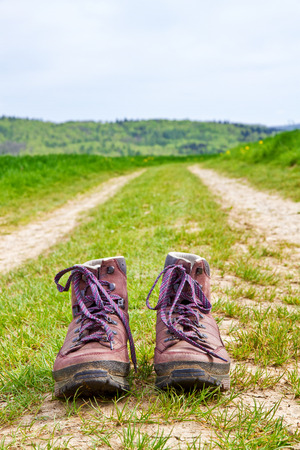 Hiking boots in nature