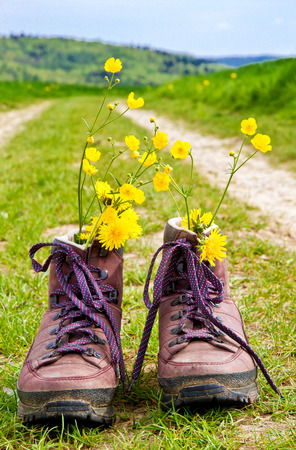 Hiking boots with flowers Banco de Imagens