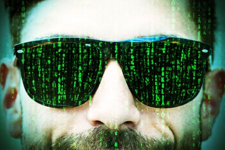 looking over shoulder: Matrix on glasses