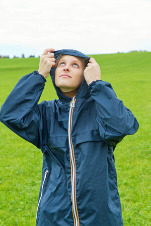 Young woman on a rainy day Stock Photo