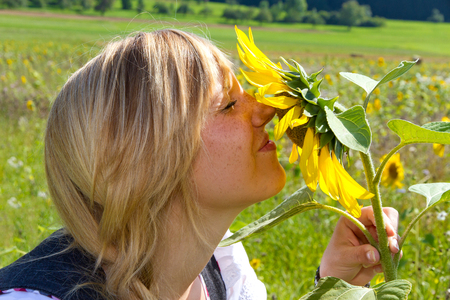 Girl and sunflower, summer, nature and fun photo