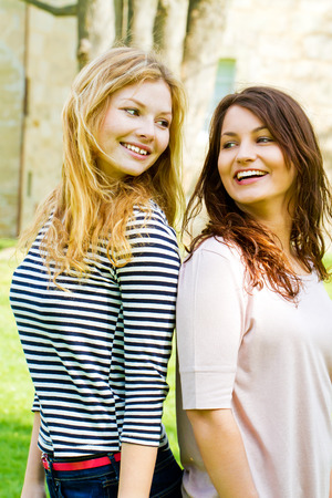 Two happy girls photo