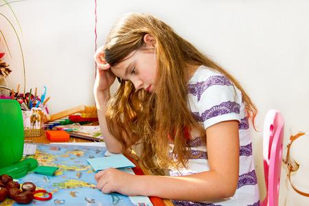 Little stressed girl Stock Photo
