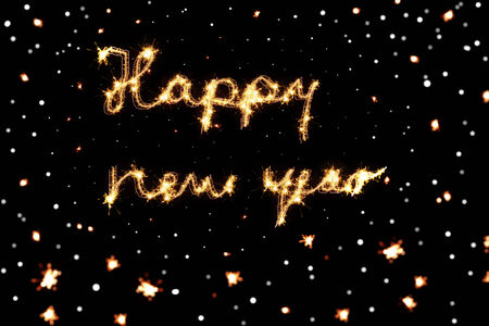 happy new year text: Happy new year - Text with sparkle effect and bokeh