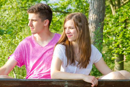 gree: Young couple in gree forest Stock Photo