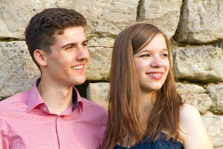 puberty: Young couple looking away Stock Photo