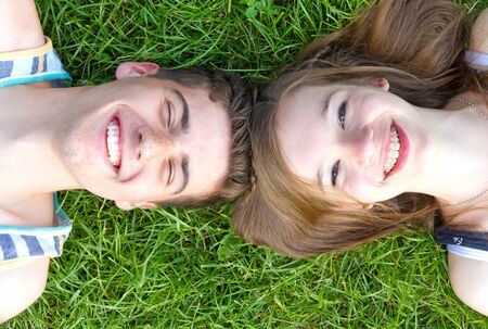natural love: Young, happy couple in nature Stock Photo