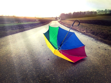 colorful: Colorful umbrella on a way