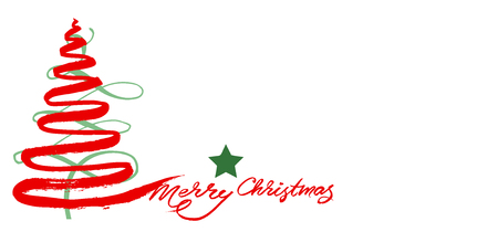 Christmas card with tree and text merry christmas Archivio Fotografico - 119498429