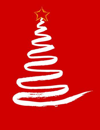 Christmas card with simple christmas tree Archivio Fotografico - 119498431