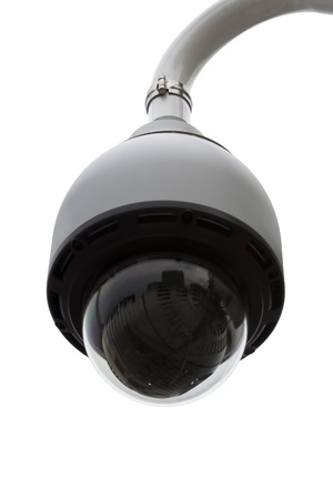 watchfulness: Dome security camera isolated on white background  Stock Photo