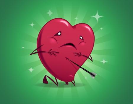 ironic: Valentine humorous wounded heart cartoon illustration. Illustration