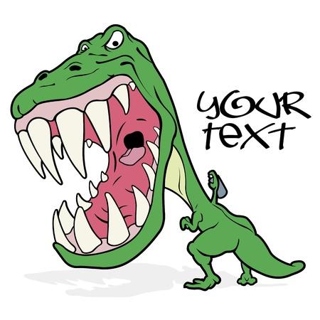 tiranosaurio rex: Un furioso tiranosaurio rug�a y la escritura de graffiti en el estilo de dibujos animados. Aislado en blanco con el espacio para colocar el texto. Vectores