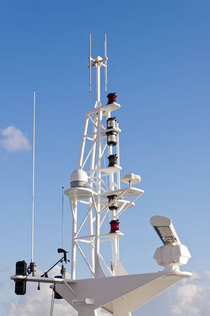 anemometer: Antennas, radar, anemometer and other communication and navigation equipment on the mast of a ship