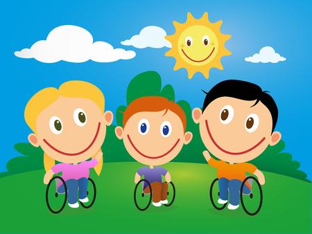 niños discapacitados: Discapacitados niños felices en silla de ruedas en un día soleado. Vectores