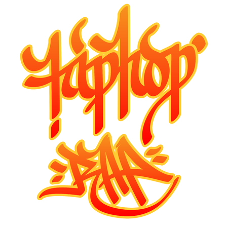 hip hop style: Hip-hop and Rap words written with graffiti style on white background  Illustration
