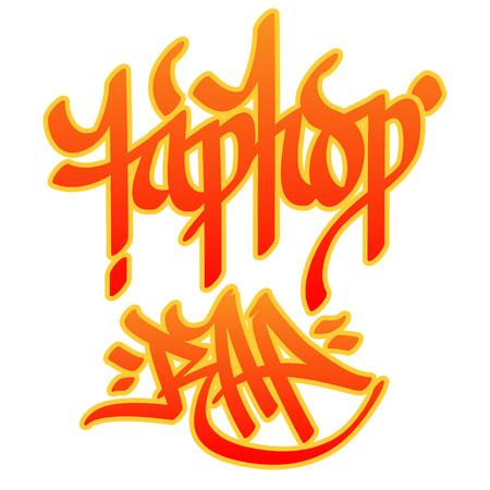 baile hip hop: Hip-hop y el rap palabras escritas con el estilo de graffiti en el fondo blanco