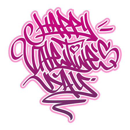 felt: Happy Valentine?s Day card in graffiti style in pink and red colors. Illustration