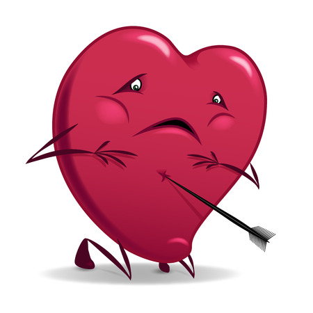 ironic: Valentine funny wounded heart cartoon vector illustration.
