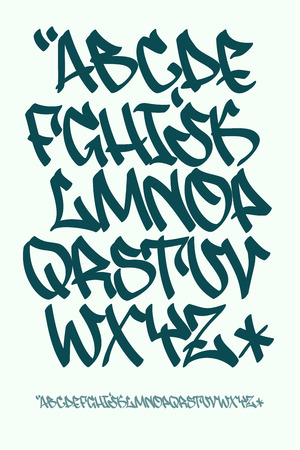 Vectorial font in graffiti hand written style. Capital letters alphabet.