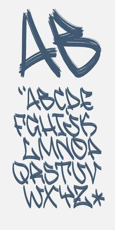 felt tip: Vectorial font in graffiti marker hand written style. Capital letters alphabet.
