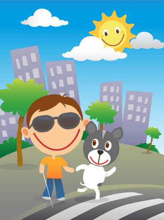 zebra crossing: Ni�o ciego feliz con bast�n y gafas de sol cruzar la carretera en un paso de cebra con su perro quide en un d�a soleado en la ciudad. Vectores