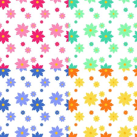 vectorial: Simple flat floral design seamless vectorial pattern in four colors.